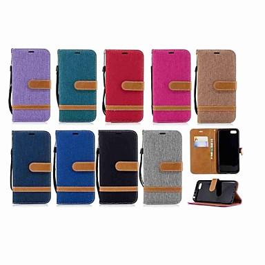 voordelige Huawei Mate hoesjes / covers-hoesje Voor Huawei Mate 10 / Mate 9 / Y9 (2018)(Enjoy 8 Plus) Portemonnee / Kaarthouder / met standaard Volledig hoesje Effen Hard tekstiili