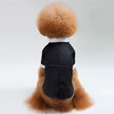 كلاب قطط ملابس السهرة للرجال ملابس الكلاب لون سادة أسود قطن كوستيوم من أجل كلب البج Bichon فرايز أفطس الربيع الصيف للجنسين حفلة / سهرة الزفاف