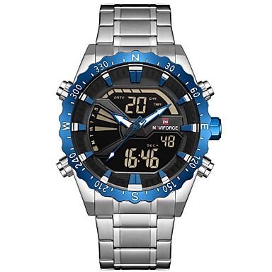 Χαμηλού Κόστους Ανδρικά ρολόγια-NAVIFORCE Ανδρικά Αθλητικό Ρολόι Στρατιωτικό Ρολόι Ψηφιακό ρολόι Ιαπωνικά Γιαπωνέζικο Quartz Ανοξείδωτο Ατσάλι Μαύρο / Ασημί 30 m Συναγερμός Χρονογράφος Διπλές Ζώνες Ώρας Αναλογικό-Ψηφιακό