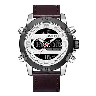 Недорогие Часы на кожаном ремешке-SMAEL Муж. Спортивные часы электронные часы Японский Японский кварц Натуральная кожа Черный / Коричневый 50 m Защита от влаги Календарь Секундомер Аналого-цифровые Мода -  / Хронометр