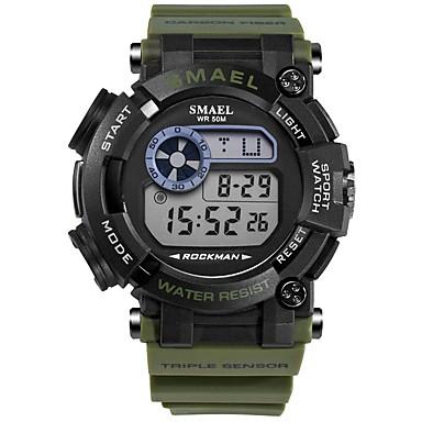 זול שעוני גברים-SMAEL בגדי ריקוד גברים שעוני ספורט שעון דיגיטלי Japanese דיגיטלי שחור / ירוק כהה 50 m עמיד במים לוח שנה כרונוגרף דיגיטלי אופנתי - שחור ירוק כהה / זוהר בחושך