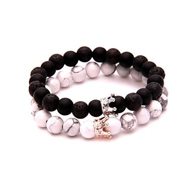 voordelige Heren Armband-Heren Black Matte Vulkanische steen Kralenarmband kralen Creatief Eenvoudig Modieus Rips Armband sieraden Wit / Zwart Voor Dagelijks Uitgaan / Strass