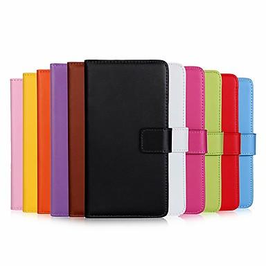 Недорогие Чехлы и кейсы для Galaxy S4 Mini-Кейс для Назначение SSamsung Galaxy S9 / S9 Plus / S8 Plus Кошелек / Защита от удара / со стендом Чехол Однотонный Твердый Настоящая кожа