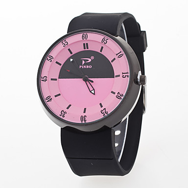 levne Pánské-Pánské Dámské Náramkové hodinky Křemenný Silikon Černá / Bílá kreativita Hodinky na běžné nošení Analogové Módní Barevná - Růžová Světle modrá Světle zelená