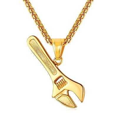 رجالي قلائد الحلي ستايل موضة الفولاذ المقاوم للصدأ ذهبي أسود فضي 55 cm قلادة مجوهرات 1PC من أجل هدية مناسب للبس اليومي