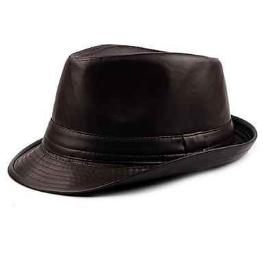 بني أسود قبعة الدلو لون سادة رجالي PU