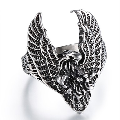 cheap Men's Rings-Men's Vintage Style Sculpture Ring Titanium Steel Eagle Wings Statement Vintage Punk Ring Jewelry Silver For Street Club 9 / 10 / 11 / 12