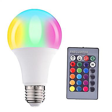 HRY 1pc 5W 500lm E26 / E27 Ampoules Globe LED A60(A19) 15 Perles LED SMD 5050 Intensité Réglable Décorative Commandée à Distance RGBW