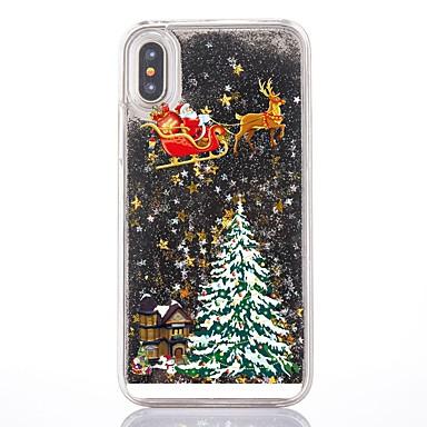 voordelige iPhone 5 hoesjes-hoesje Voor Apple iPhone XS / iPhone X / iPhone 8 Plus Stromende vloeistof / Transparant / Patroon Achterkant Kerstmis Hard PC