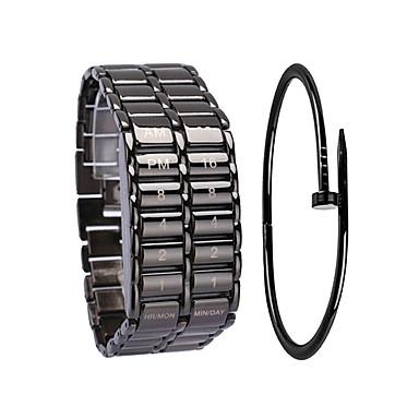 Недорогие Часы на металлическом ремешке-Муж. Спортивные часы электронные часы Цифровой Подарочный набор Нержавеющая сталь Черный / Серебристый металл 30 m Секундомер Творчество Новый дизайн Цифровой Кольцеобразный Мода - / Один год