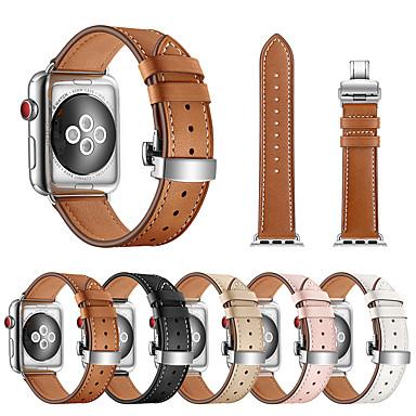 Недорогие Ремешки для Apple Watch-Ремешок для часов для Apple Watch Series 4/3/2/1 Apple Бабочка Пряжка Натуральная кожа Повязка на запястье