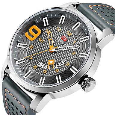 MINI FOCUS Herrn Uhr Sportuhr Quartz Echtes Leder Schwarz / Blau / Braun 30 m Kalender Armbanduhren für den Alltag Cool Analog Luxus Modisch Grau Braun Blau / Ein Jahr