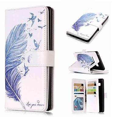 voordelige Galaxy Note-serie hoesjes / covers-hoesje Voor Samsung Galaxy Note 9 / Note 8 / Note 5 Portemonnee / Kaarthouder / met standaard Volledig hoesje Veren Hard PU-nahka