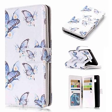 voordelige Galaxy Note-serie hoesjes / covers-hoesje Voor Samsung Galaxy Note 9 / Note 8 / Note 5 Portemonnee / Kaarthouder / met standaard Volledig hoesje Vlinder Hard PU-nahka