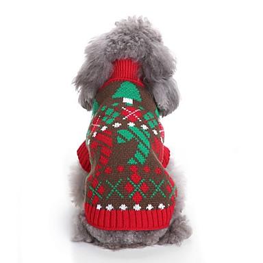 Χαμηλού Κόστους Ρούχα και αξεσουάρ για σκύλους-Σκυλιά Πουλόβερ Ρούχα για σκύλους Άνθινο / Βοτανικό Χριστούγεννα Κόκκινο Μπλε Τερυλίνη Στολές Για Μπουλντόγκ Σίμπα Ίνου Κόκερ Σπάνιελ Φθινόπωρο Χειμώνας Γιούνισεξ Πάρτι / Απόγευμα Χριστούγεννα