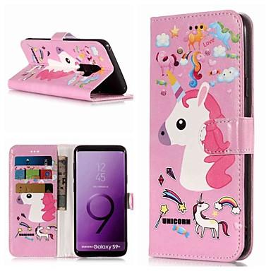 Недорогие Чехлы и кейсы для Galaxy S6-Кейс для Назначение SSamsung Galaxy S9 / S9 Plus / S8 Plus Кошелек / Бумажник для карт / со стендом Чехол единорогом Твердый Кожа PU