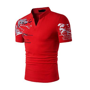 economico Abbigliamento uomo-T-shirt Per uomo Sport Attivo / Boho Con stampe Colletto alla coreana - Cotone Nero L / Manica corta / Estate / Taglia piccola