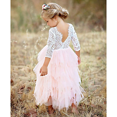 cheap Girls' Clothing-Kids Girls' Basic Daily Solid Colored Lace Layered Long Sleeve Cotton Polyester Dress Red