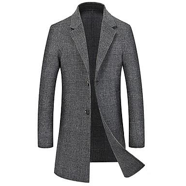 billige Herreklær-Herre Daglig Grunnleggende Høst Lang Frakk, Ensfarget Skjortekrage Langermet Polyester Grå L / XL / XXL