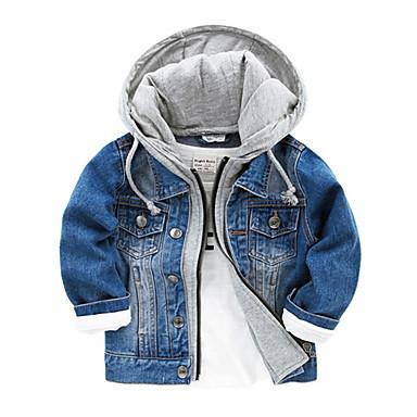 cheap Boys' Jackets & Coats-Kids Boys' Basic Daily Solid Colored Long Sleeve Cotton Jacket & Coat Blue
