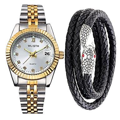 hesapli Erkek Saatleri-Erkek Bilek Saati Japonca Quartz Hediye seti Paslanmaz Çelik Gümüş / Altın Rengi 30 m Su Resisdansı Takvim Kronograf Analog Lüks Işıltılı - Açık Sarı Altın / Gümüş / Beyaz Altın / Gümüş / Siyah İki