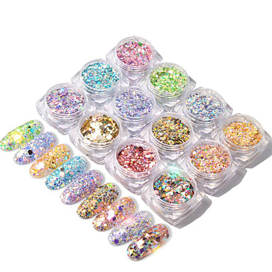 12 pcs Best Quality / Slim design Metalic Sequins For Finger Nail Mini Fashion nail art Manicure Pedicure Daily / Family Gathering Sweet / Colorful