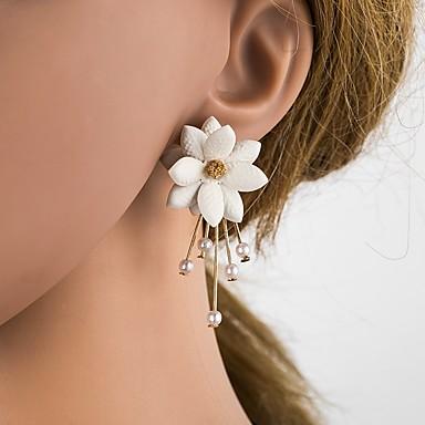 ieftine Cercei-Pentru femei Cercei Stud #D Floare femei Stilat Clasic Imitație de Perle Reșină S925 Sterling Silver cercei Bijuterii Bej / Alb Pentru Zilnic 1 Pair