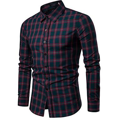 economico Abbigliamento uomo-Camicia Per uomo Ufficio Lavoro / Essenziale A quadri Blu marino L / Colletto alla coreana / Manica lunga