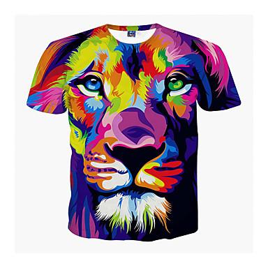 levne Pánské módní oblečení-Pánské - Zvíře Větší velikosti Tričko, Tisk Kulatý Lev Fialová XL / Krátký rukáv / Léto