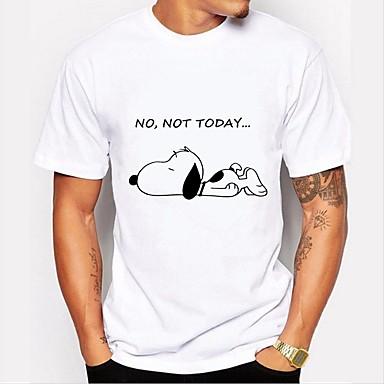 baratos Roupa de Homem Moderna-Homens Camiseta Básico Estampado, Animal / Letra Algodão Decote Redondo Preto & Branco Branco XL / Manga Curta