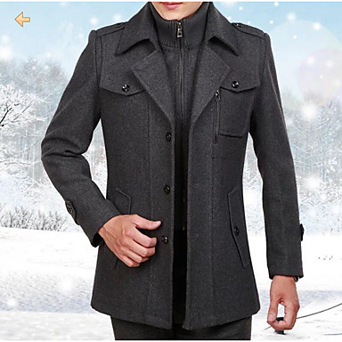 Men's Daily Basic Regular Coat, Solid Colored Shirt Collar Long Sleeve Polyester Brown / Black / Gray XXL / XXXL / XXXXL