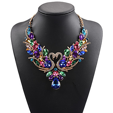 cheap Collar Necklaces-Women's Statement Necklace Bib necklace Swan Animal Rainbow Statement Ladies Luxury Bohemian Synthetic Gemstones Rhinestone Alloy White Red Rainbow Necklace Jewelry For Wedding Party Special Occasion