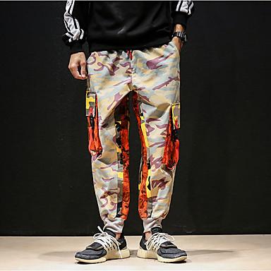billige Herrers Mode Beklædning-Herre Gade Løstsiddende Chinos / Lastbukser Bukser - camouflage Blå