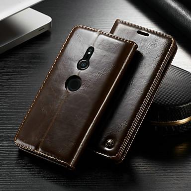 voordelige Hoesjes / covers voor Sony-hoesje Voor Sony Xperia XZ2 Portemonnee / Kaarthouder / met standaard Volledig hoesje Effen Hard PU-nahka