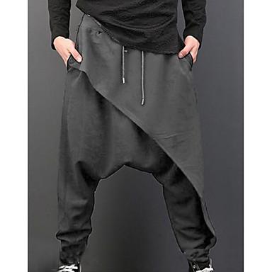 6f7499604 رجالي مبالغ فيه مناسب للبس اليومي بنطلونات بنطلون - لون سادة خصر عالي أسود  رمادي XL