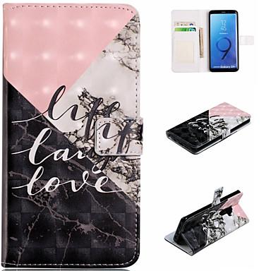Недорогие Чехлы и кейсы для Galaxy S6 Edge-Кейс для Назначение SSamsung Galaxy S9 / S9 Plus / S8 Plus Кошелек / Бумажник для карт / со стендом Чехол Слова / выражения / Мрамор Твердый Кожа PU