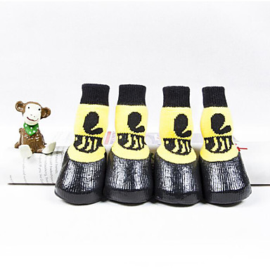 cheap Dog Clothing & Accessories-Cats Dog Boots / Shoes Casual / Daily Waterproof Cartoon Yellow For Pets