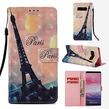 voordelige Galaxy Note-serie hoesjes / covers-hoesje Voor Samsung Galaxy Note 8 Portemonnee / Kaarthouder / Flip Volledig hoesje Eiffeltoren Hard PU-nahka