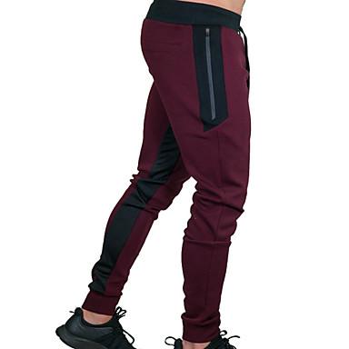 baratos Roupa de Homem Moderna-Homens Básico / Moda de Rua Diário Calças Esportivas Calças - Sólido Algodão Preto Vermelho Cinzento L XL XXL