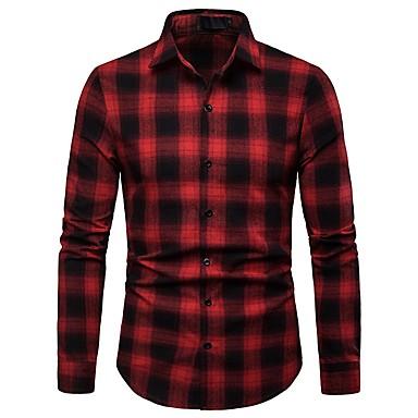 billige Herrers Mode Beklædning-Herre - Stribet / Ruder Bomuld, Trykt mønster Basale Skjorte Sort L / Langærmet