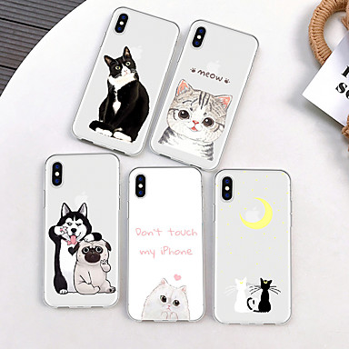 voordelige iPhone 7 hoesjes-hoesje Voor Apple iPhone XS / iPhone XR / iPhone XS Max Patroon Achterkant Kat / Hond / Cartoon Zacht TPU