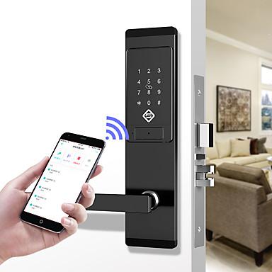 billige Adgangskontrolsystemer-pineworld q201 smart dørlås / zink legering lås / adgangskode lås / fingeraftryk lås smart hjem sikkerhed ios / android system adgangskode oplåsning / mekanisk nøgle oplåsning / anti kig adgangskode