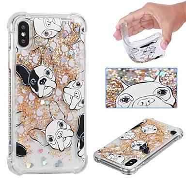 voordelige iPhone 5 hoesjes-hoesje Voor Apple iPhone XS / iPhone XR / iPhone XS Max Schokbestendig / Stromende vloeistof / Transparant Achterkant Hond / Glitterglans Zacht TPU