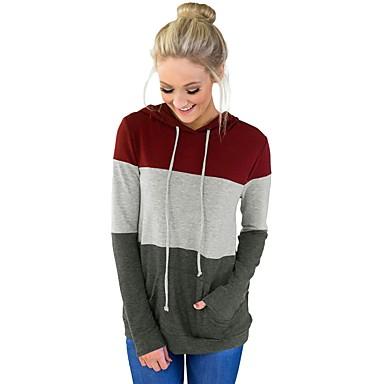 billige Hættetrøjer og sweatshirts til damer-Dame Basale Hættetrøje Jakke - Farveblok, Blondér