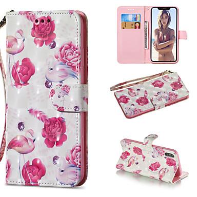 voordelige iPhone X hoesjes-hoesje Voor Apple iPhone XS / iPhone XR / iPhone XS Max Portemonnee / Kaarthouder / met standaard Volledig hoesje Flamingo Hard PU-nahka