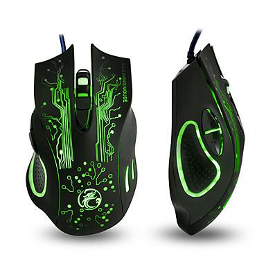 IMICE X9 สาย USB เมาส์สำหรับเล่นเกม นำแสงสูดลมหายใจ 800/1200/1600/2400 dpi 4 ระดับ DPI ปรับได้ 6 pcs คีย์