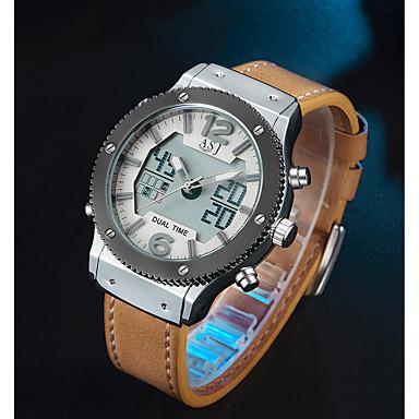 Недорогие Часы на кожаном ремешке-ASJ Муж. Спортивные часы электронные часы Японский Японский кварц Натуральная кожа Черный / Коричневый 100 m Будильник Повседневные часы Аналого-цифровые На каждый день Мода - Черный Коричневый
