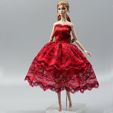 db602ed534 Party / Estélyi Ruhák mert Barbiedoll Piros Csipke / Szatén Ruha mert Lány  Doll Toy
