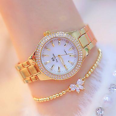 preiswerte Damen Uhren-Damen Uhr Armbanduhr Diamond Watch Goldene Uhr Japanisch Quartz Edelstahl Silber / Gold Neues Design leuchtend Armbanduhren für den Alltag Analog Freizeit Modisch Gold Silber Golden + Silber