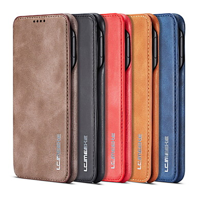 Недорогие Чехлы и кейсы для Galaxy S-Кейс для Назначение SSamsung Galaxy S9 / S9 Plus / S8 Plus Бумажник для карт / со стендом Чехол Однотонный Твердый Кожа PU